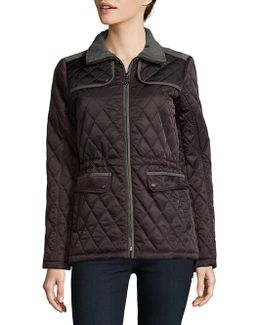 Cinch Waist Quilted Coat