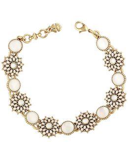 Squash Blossom Crystal & Mother-of-pearl Link Bracelet