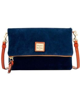 Fold-over Suede Crossbody Bag