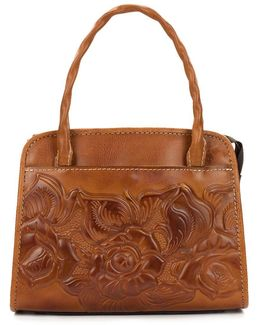 Floral Embossed Small Leather Satchel