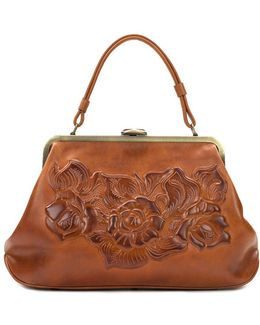 Floral Embossed Leather Satchel