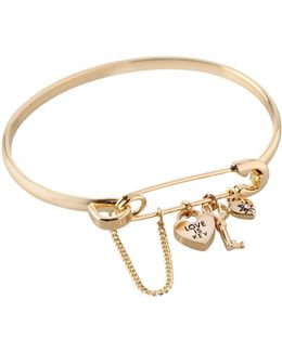 Love Is Key Charm Bangle Bracelet