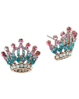 Princess Charming Jeweled Crown Earrings