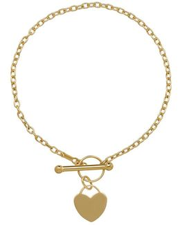 14k Yellow Gold Heart Toggle Bracelet
