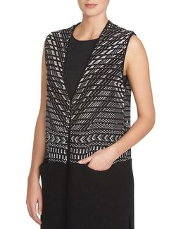 Sleeveless Jacquard Open-front Sweater