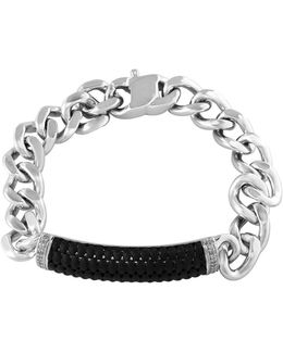 Sterling Silver And Ruthenium Cuban Chain Bracelet