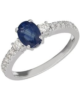 Blue Sapphire, Diamond And 14k White Gold Ring