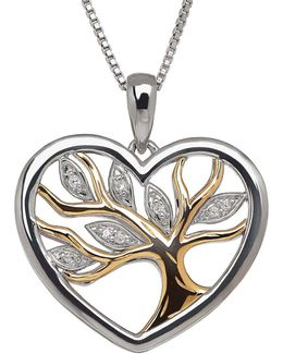 Diamond, Sterling Silver And 14k Yellow Gold Tree Pendant Necklace