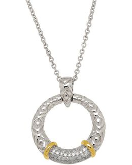 Diamond, Sterling Silver And 14k Yellow Gold Circle Pendant Necklace