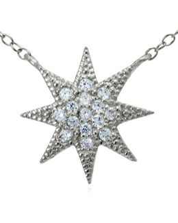Sterling Silver And Cubic Zirconia Starburst Pendant Necklace
