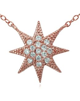 Rose Goldtone Sterling Silver And Cubic Zirconia Starburst Pendant Necklace