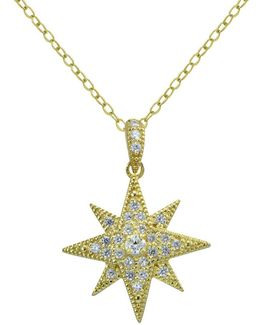 Cubic Zirconia And Sterling Silver Goldtone Starburst Pendant Necklace