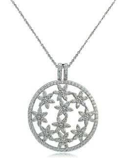 Cubic Zirconia And Sterling Silver Filigree Pendant Necklace