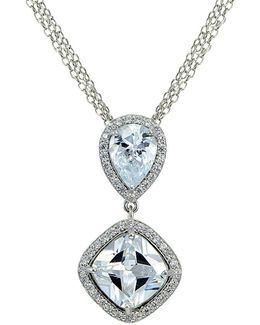 Cubic Zirconia And Sterline Silver Teardrop And Cushion Pendant