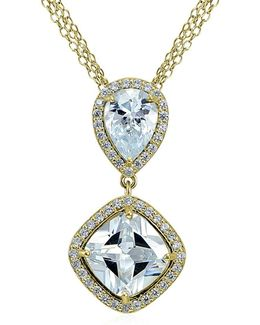 Cz And Sterling Silver Double Drop Pendant Necklace