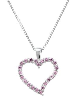 Sterling Silver And Cubic Zirconia Heart Pendant Necklace