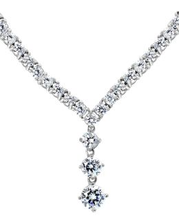 Cz And Sterling Silver Triple Drop Pendant Necklace