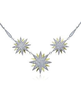 Two-tone Cubic Zirconia And Sterling Silver Starburst Necklace
