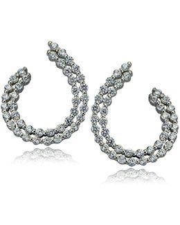 Sterling Silver And Cubic Zirconia J-hoop Earrings