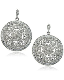 Sterling Silver And Cubic Zirconia Filigree Earrings