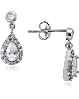 Sterling Silver And Cubic Zirconia Teardrop Earrings