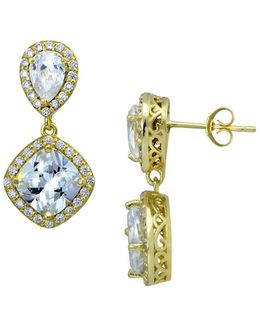 Sterling Silver And Cubic Zirconia Double Cushion Drop Earrings
