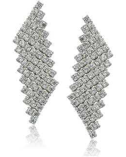Sterling Silver And Cubic Zirconia Mesh Drop Earrings