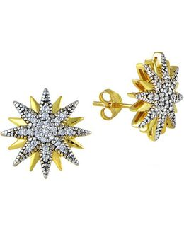 Sterling Silver And Cubic Zirconia Starburst Stud Earrings