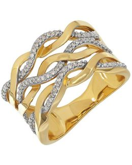 Diamond And 14k Yellow Gold Wave Ring