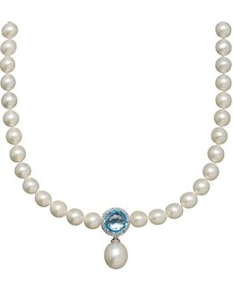 7-16mm White Freshwater Pearl, Blue Topaz, Diamond And Sterling Silver Necklace