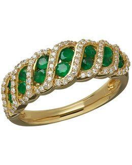 Emerald, Diamond And 14k Yellow Gold Lattice Ring