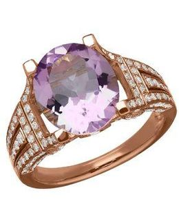 Amethyst, Diamond And 14k Rose Gold Ring, 0.75 Tcw