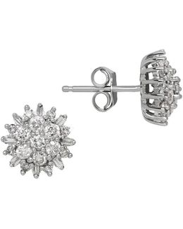 Diamond And 14k White Gold Stud Earrings, 0.50 Tcw