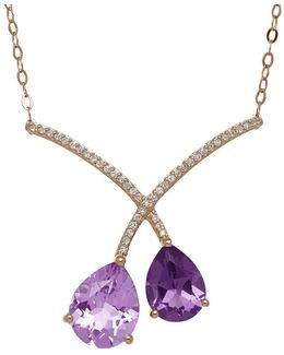 Amethyst And 14k Rose Gold Necklace