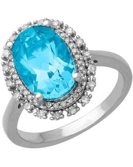 Blue Topaz, Diamond And Sterling Silver Ring, 0.23 Tcw