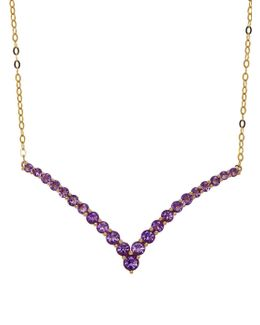 Amethyst And 14k Yellow Gold Chevron Necklace