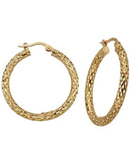 14k Yellow Gold Lattice Hoop Earrings