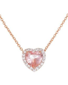 Morganite And Sterling Silver Heart Pendant Necklace