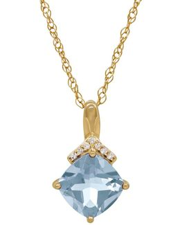 Aquamarine, Diamond And 14k Yellow Gold Pendant Necklace