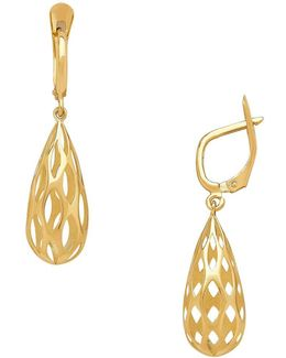 14k Yellow Gold Teardrop Lever-back Earrings