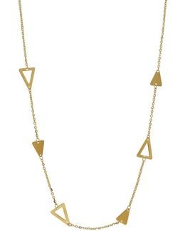 14k Yellow Gold Geo Station Necklace