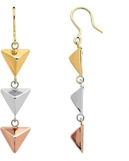 14k Yellow, White And Rose Gold Pyramid Drop Earrings