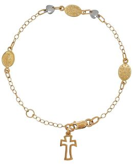 14k Yellow And White Gold Rosary Charm Bracelet
