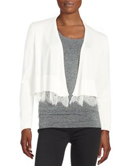 Lace-hemmed Cardigan