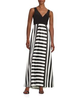 Striped V-neck Gown