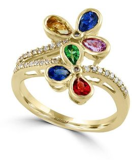 Watercolors 14k Yellow Gold Multi-stone And Diamond Ring, 0.15 Tcw