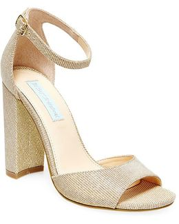 Carly Metallic Fabric Sandals