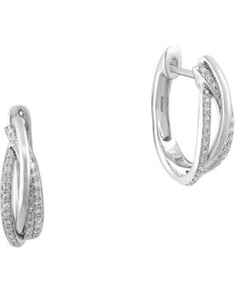 Pave Classica Diamond And 14k White Gold Earrings