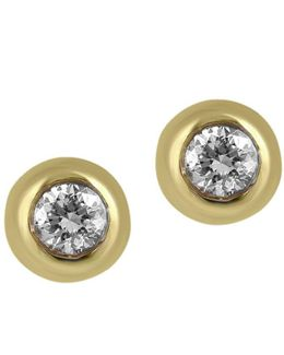 D Oro Diamond And 14k Yellow Gold Stud Earrings