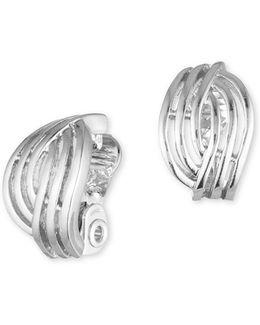 Silvertone Weave Clip-on Earrrings